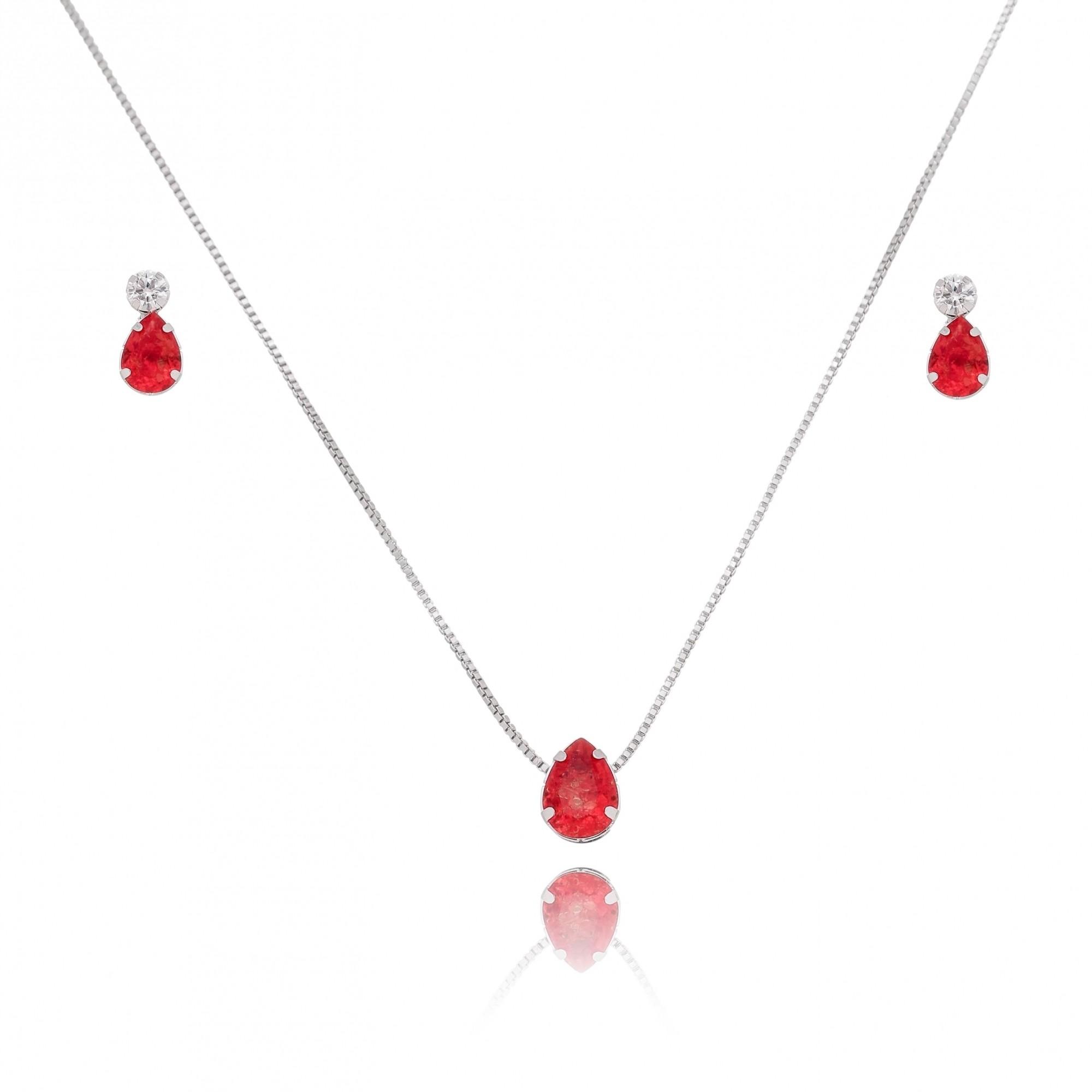 Conjunto de Colar e Brincos Gota com Pedra Fusion Vermelha Folheado em Ródio Branco - Giro Semijoias