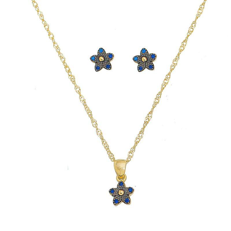 Conjunto Flor com Zircônia Azul Folheado em Ouro 18k - Giro Semijoias