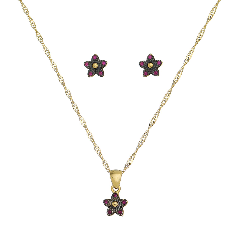 Conjunto Flor com Zircônia Rosa Folheado em Ouro 18k