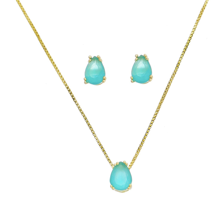 Conjunto Gota Cristal Azul Claro Kovacia - Banho Ouro 18k