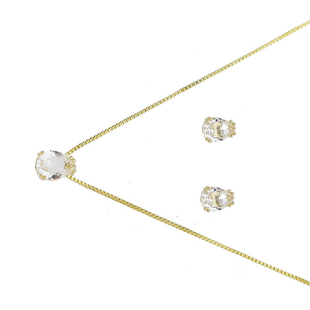 Conjunto Gota Cristal Incolor Ouro 18k-Giro Semijoias