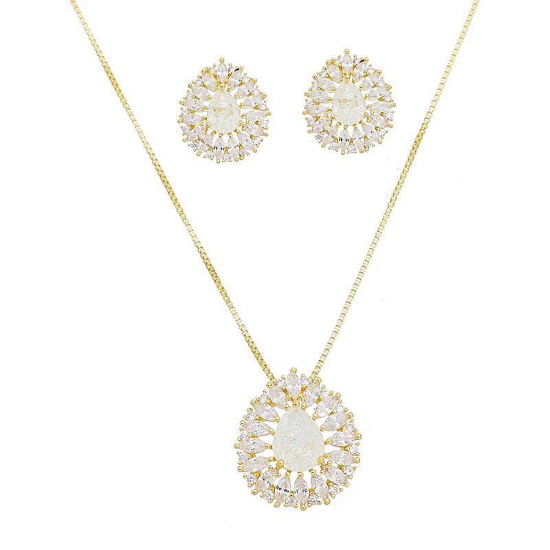 Conjunto gota de cristal Branco com zircônia Chiron - Banho Ouro 18k