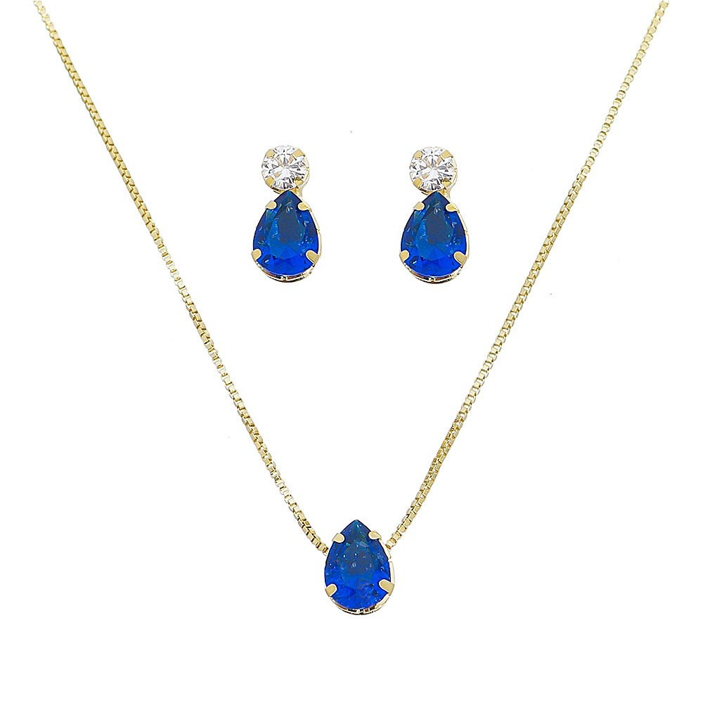 Conjunto Gota de Zircônia Azul Ouro 18k- Giro Semijoias