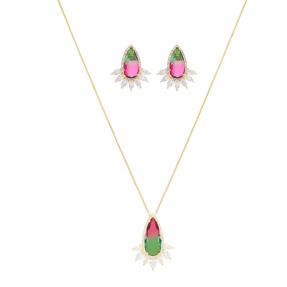Conjunto Gota em Navetes Rainbow Verde e Rosa Folheado em Ouro 18k