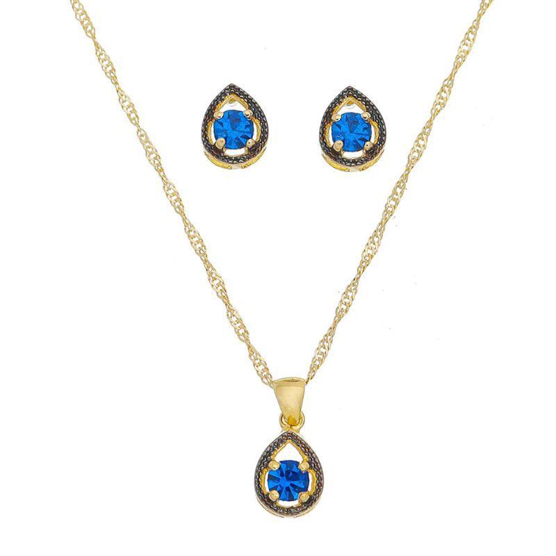 Conjunto Gota Zircônia Azul Ouro 18k- Giro Semijoias