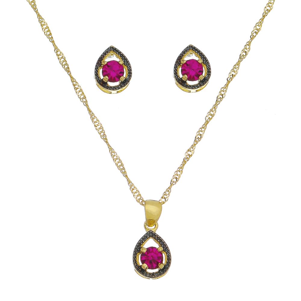 Conjunto gota zircônia Rosa Ouro 18k