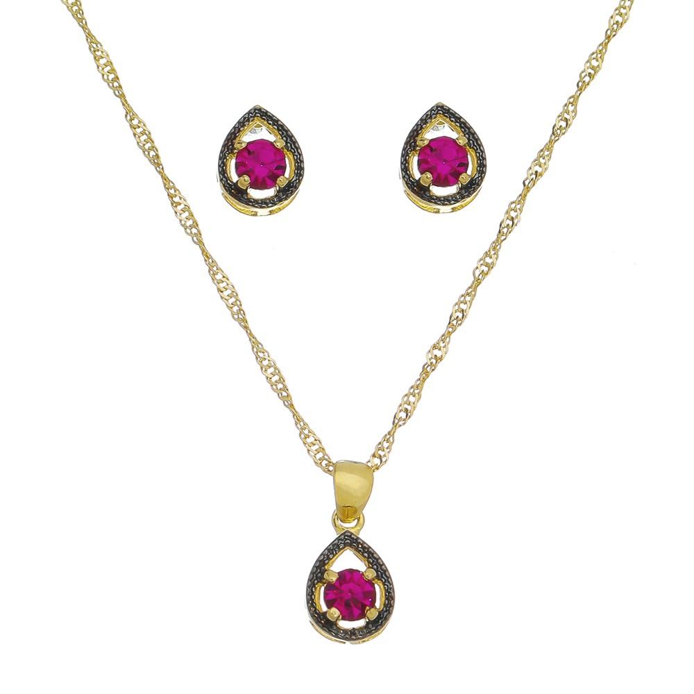 Conjunto gota zircônia Rosa Ouro 18k- Giro Semijoias