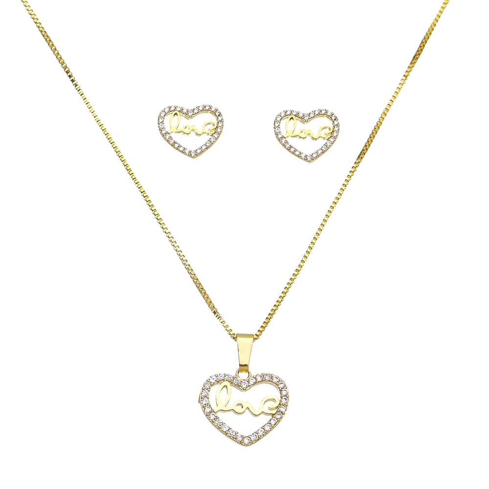 Conjunto Love C/ Coração Vazado C/ Contorno de Zircônia Folheado em Ouro 18k- Giro Semijoias