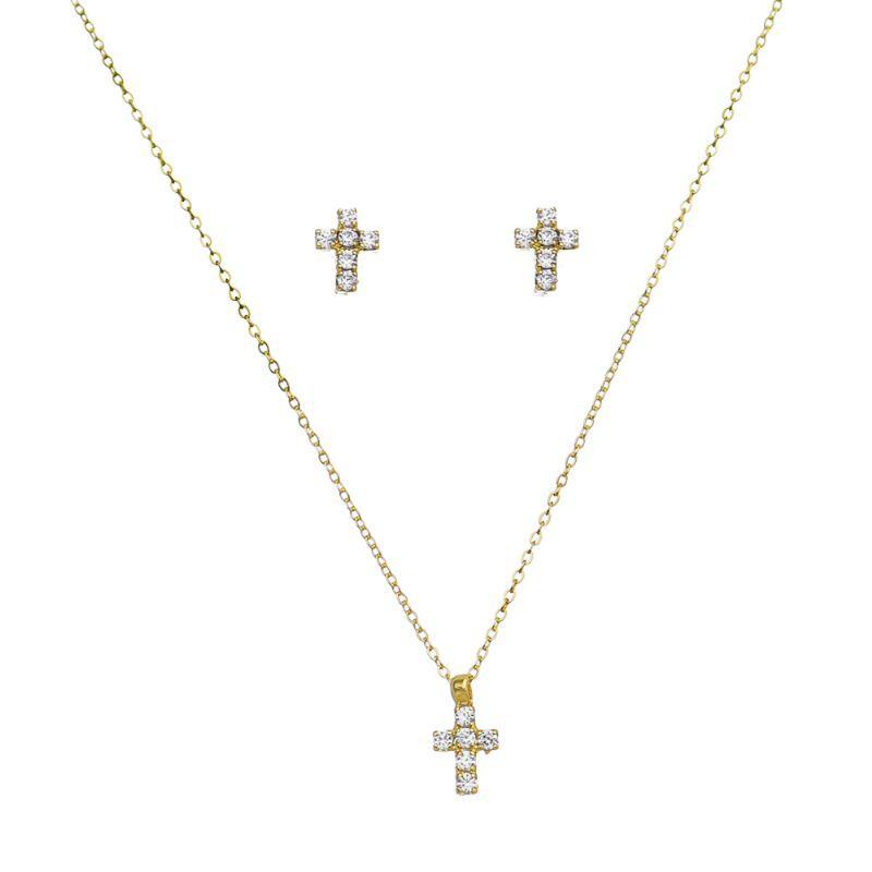 Conjunto Mini Cruz C/ Zircônia Folheado em Ouro 18k- Giro Semijoias