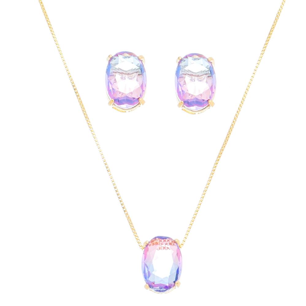 Conjunto oval pedra rainbow Roxo/azul Ouro 18k