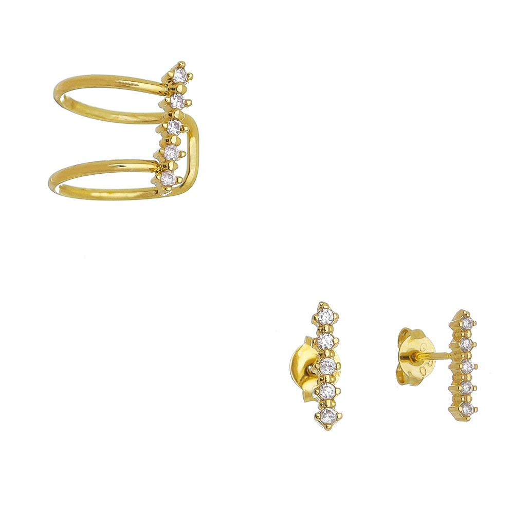 Conjunto Piercing C/ Zircônia Ouro 18k- Giro Semijoias