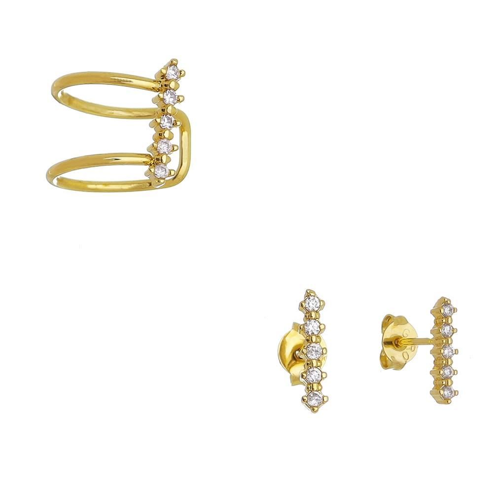 Conjunto Piercing Com Zircônia Folheado em Ouro 18k - Giro Semijoias