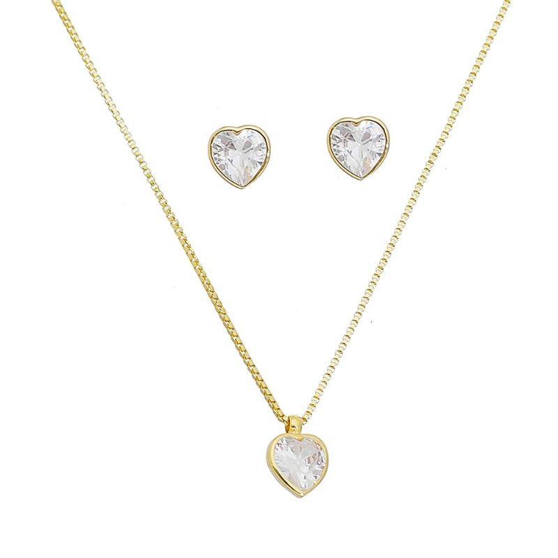 Conjunto Ponto de Luz de Coração em Zircônia Folheado em Ouro 18k - Giro Semijoias