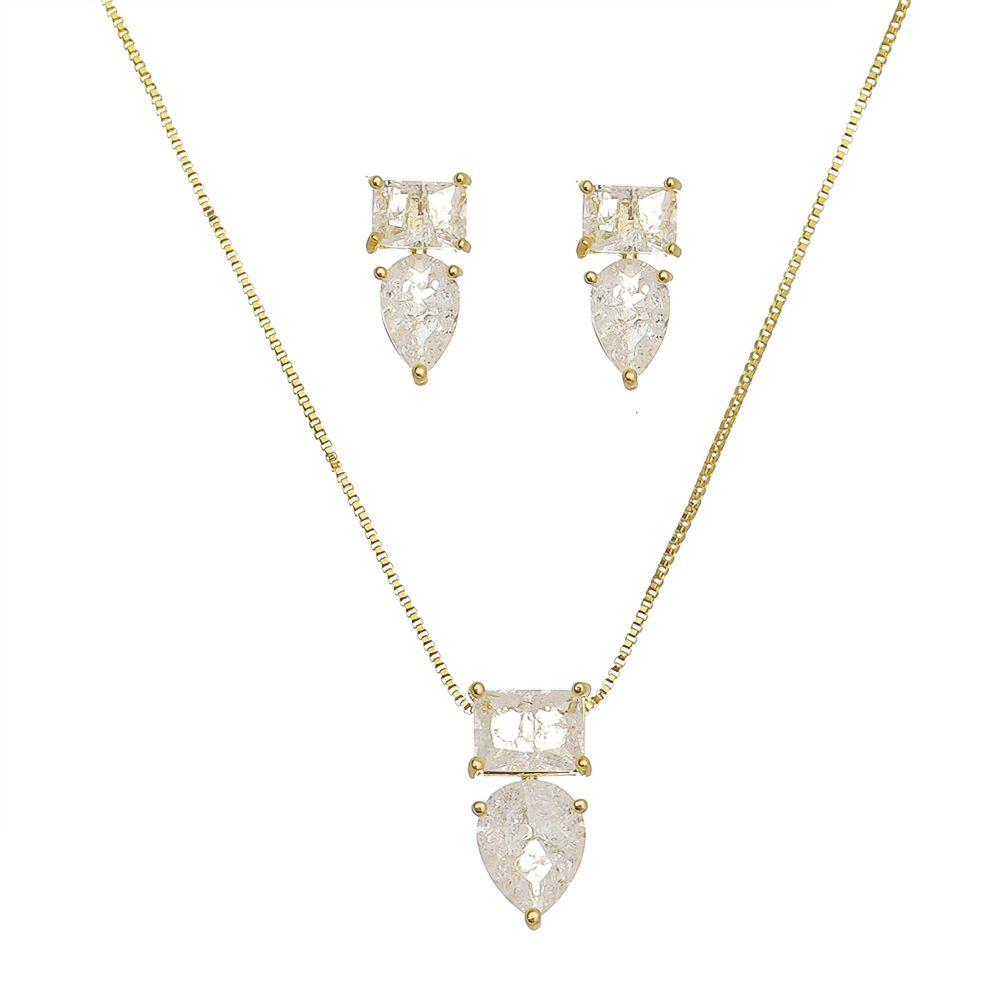 Conjunto Quadrado Gota Pedra Fusion Incolor Ouro 18k- Giro Semijoias