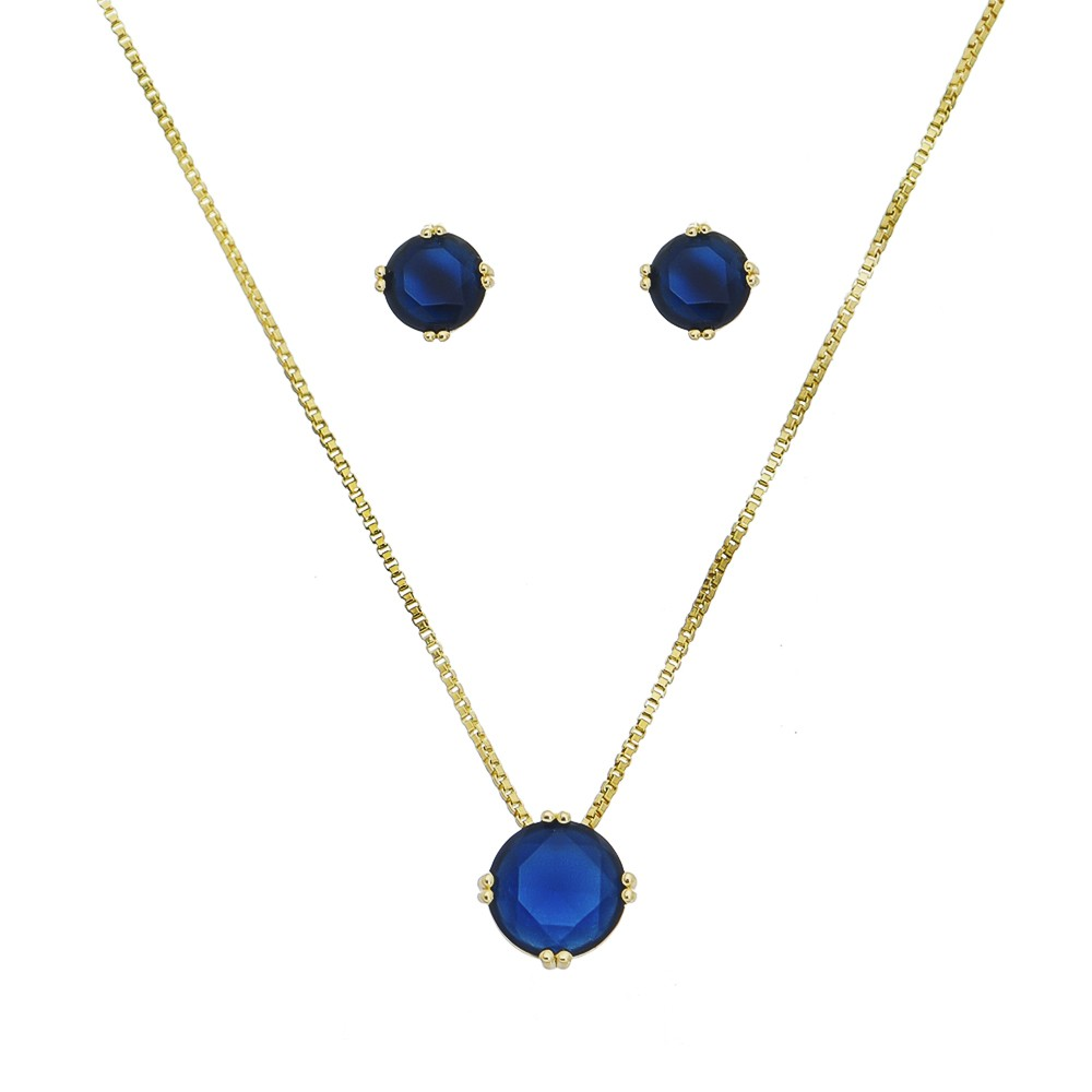 Conjunto Redondo Cristal Azul Roman - Banho Ouro 18k