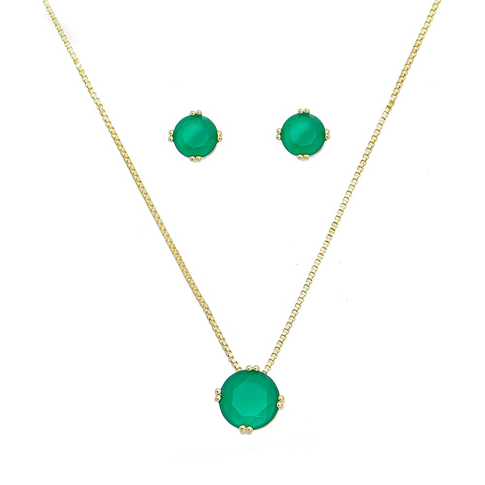 Conjunto Redondo Cristal Verde Roman - Banho Ouro 18k