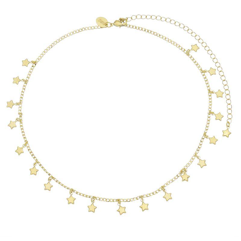 Corrente C/ Estrelas  Folheado em Ouro 18k-Giro Semijoias