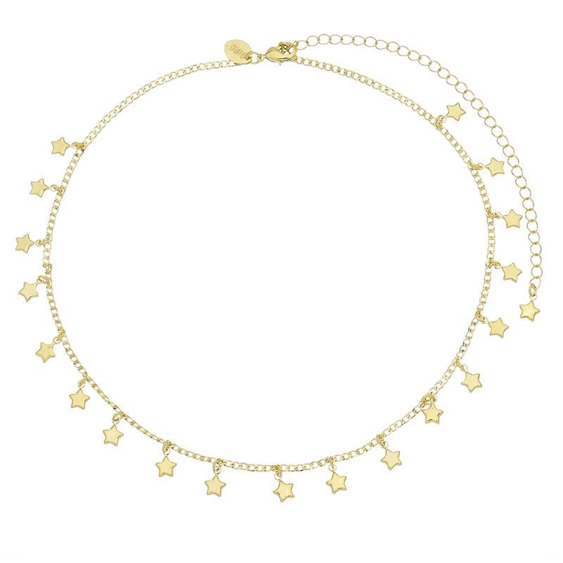 Corrente C/ Estrelas Penduradas Ouro 18k-Giro Semijoias