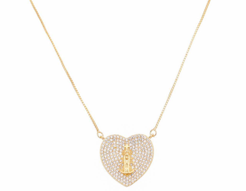Corrente Coração c/ Zircônia Nossa Senhora Aparecida  Ouro 18k-Giro Semijoias