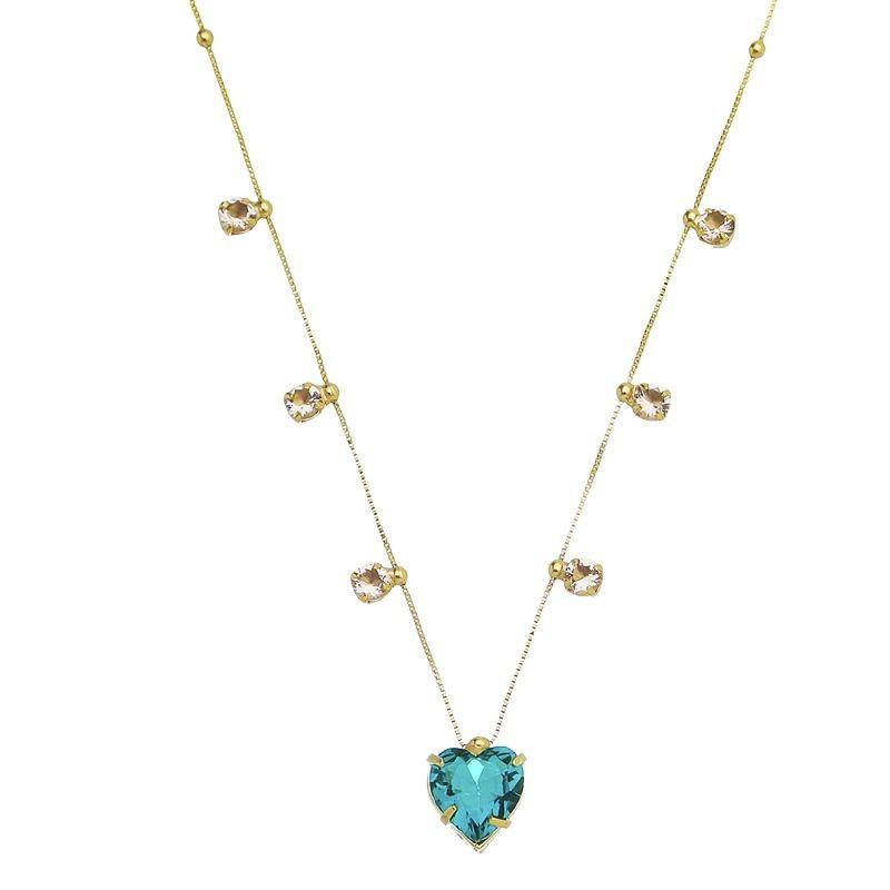 Corrente Coração Cristal e Gota Zircônia Colorido Folheado em Ouro 18k- Giro Semijoias