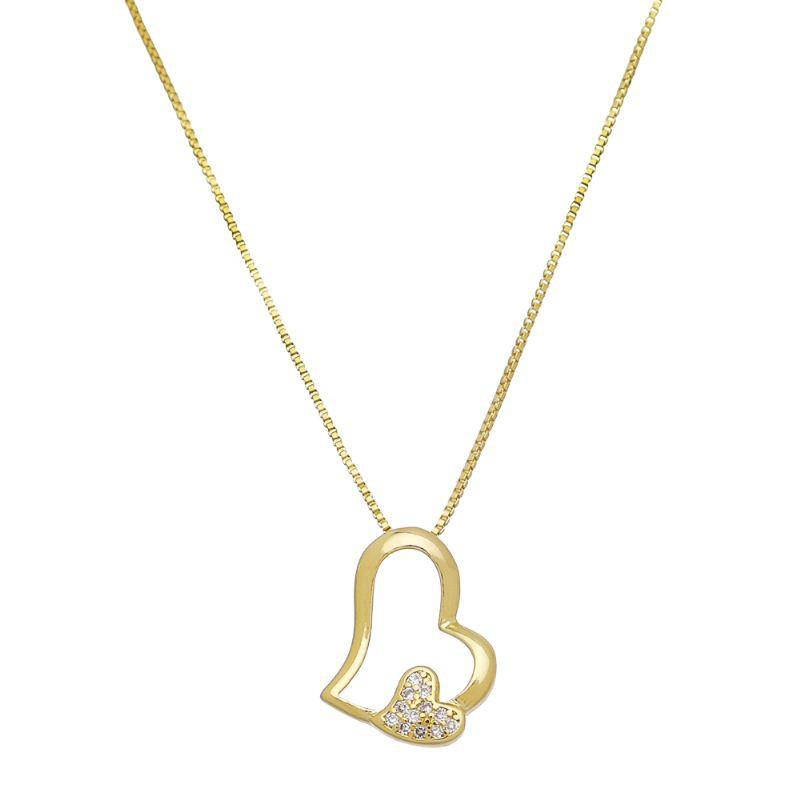 Corrente  Coração Liso e Coração C/ Zircônia Folheado em Ouro 18k- Giro Semijoias