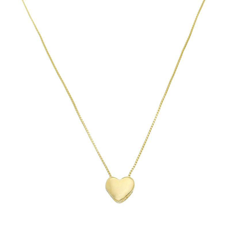 Corrente  Coração Liso Folheado em  Ouro 18k Giro Semijoias