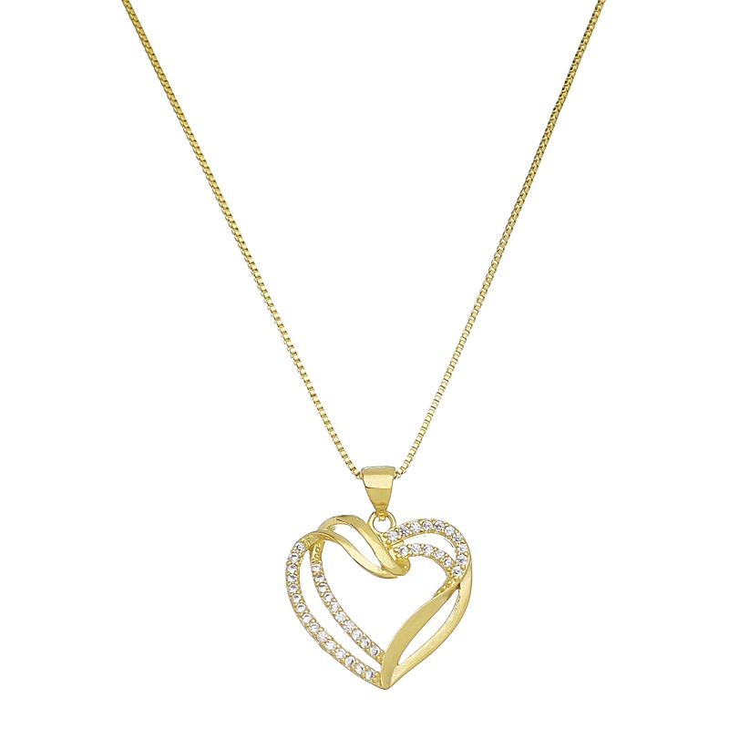 Corrente  Coração Vazado C/ Zircônia Folheado em Ouro 18k- Giro Semijoias