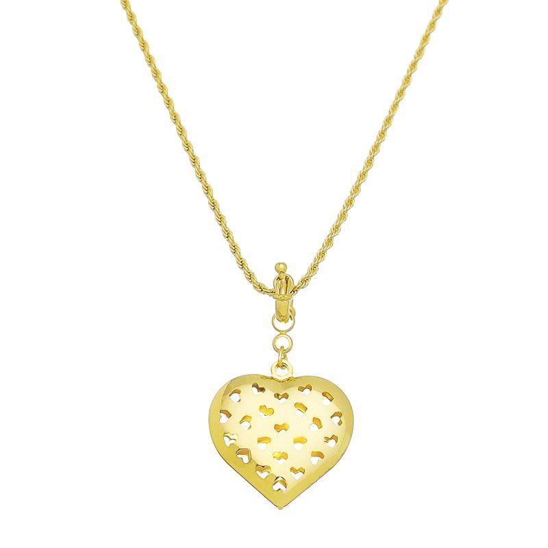 Corrente Coração Vazado de Corações Folheado em Ouro Giro Semijoias