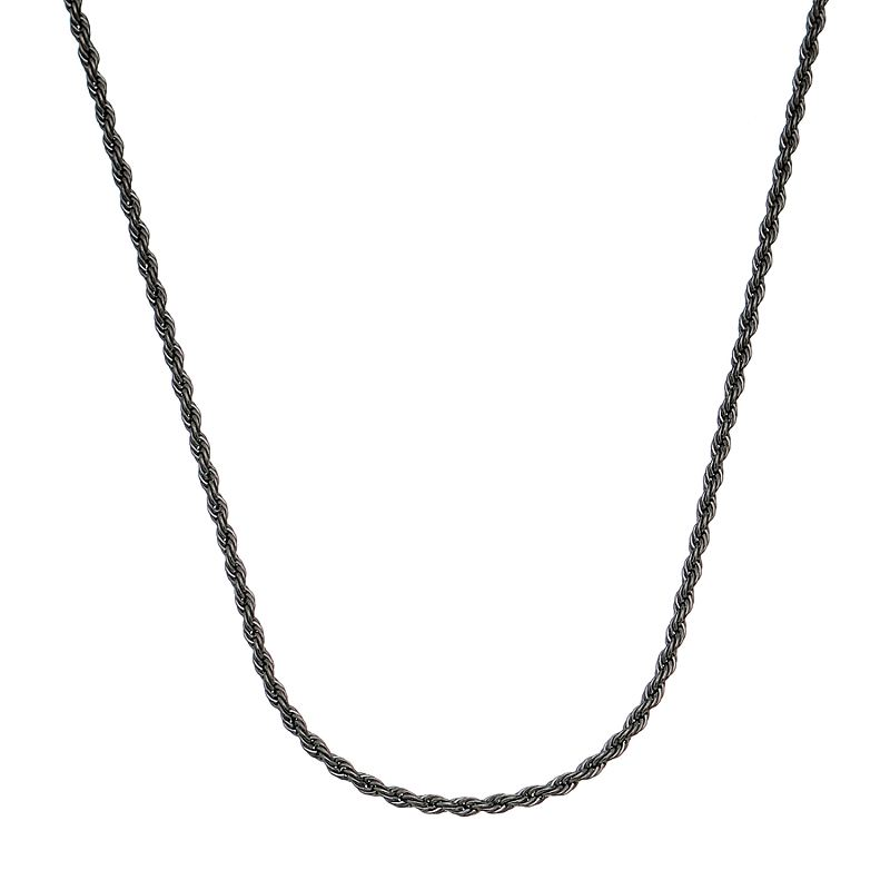 Corrente Cordão Baiano 45 Cm Folheado em Ródio Negro