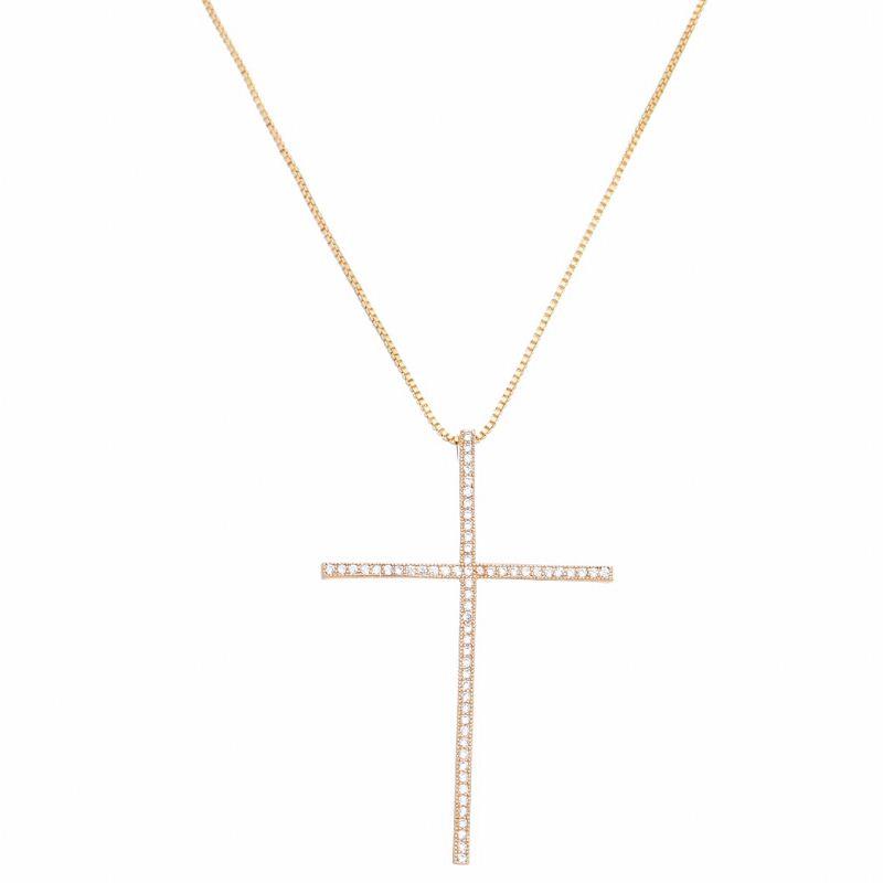 Corrente Cruz C/ Zircônia Ouro 18k