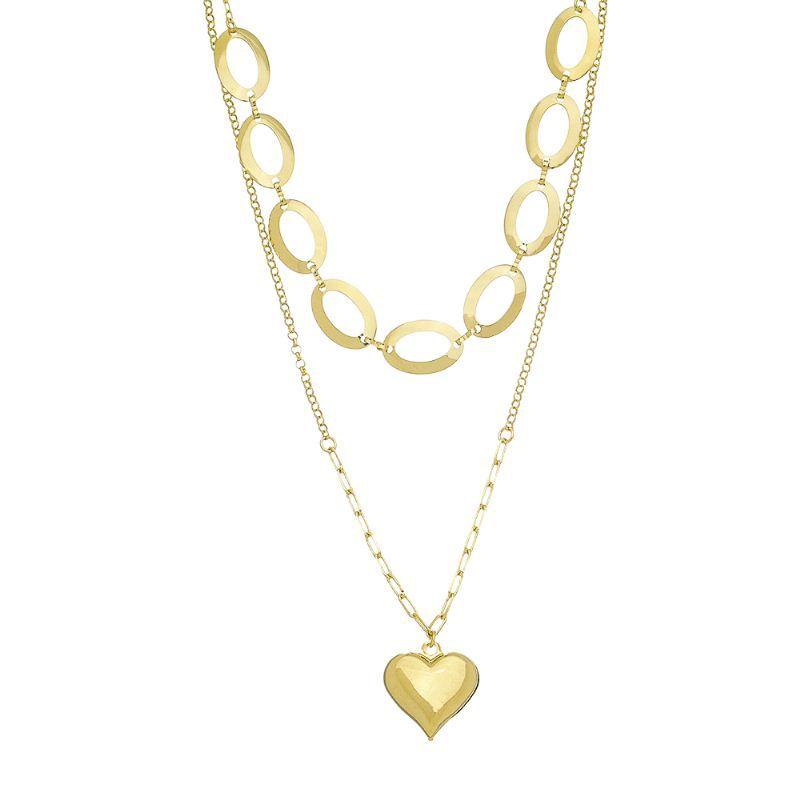 Corrente Dupla C/ Coração Ouro 18k-Giro Semijoias