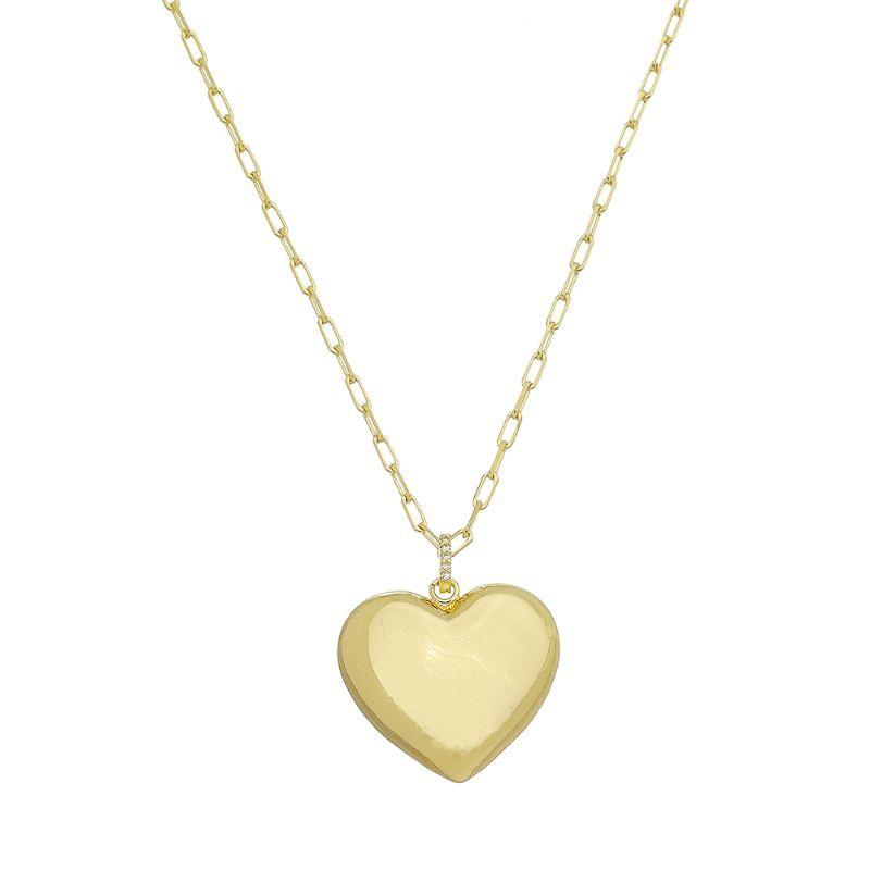 Corrente Elo Coração Vazado C/ Zircônia Folheado em Ouro 18k-Giro Semijoias