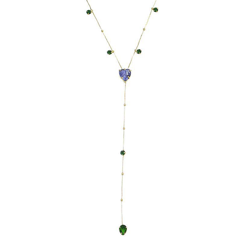 Corrente Gravatinha Coração Cristal e Gota Zircônia Colorido Folheado em Ouro 18k- Giro Semijoias