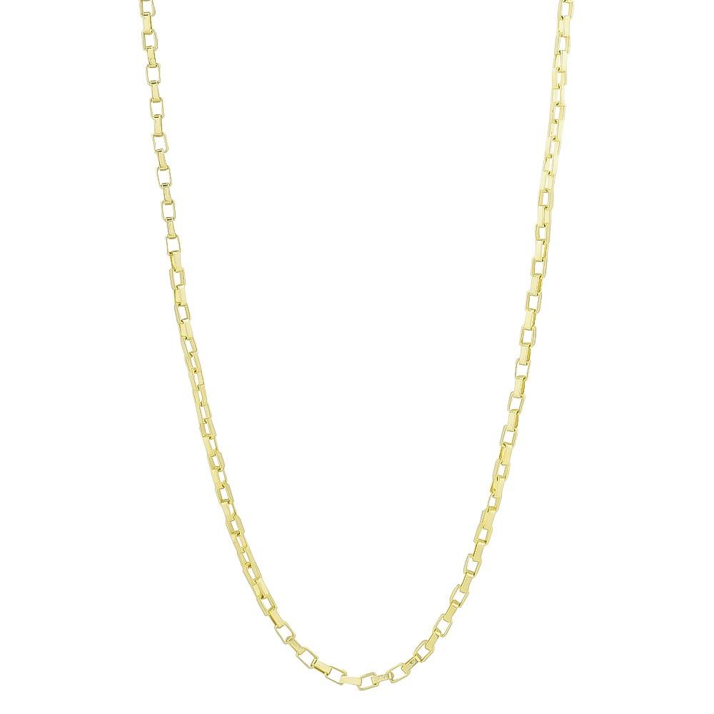 Corrente Masculina Malha Cartier Retangular 60cm Folheada em Ouro 18k - Giro Semijoias
