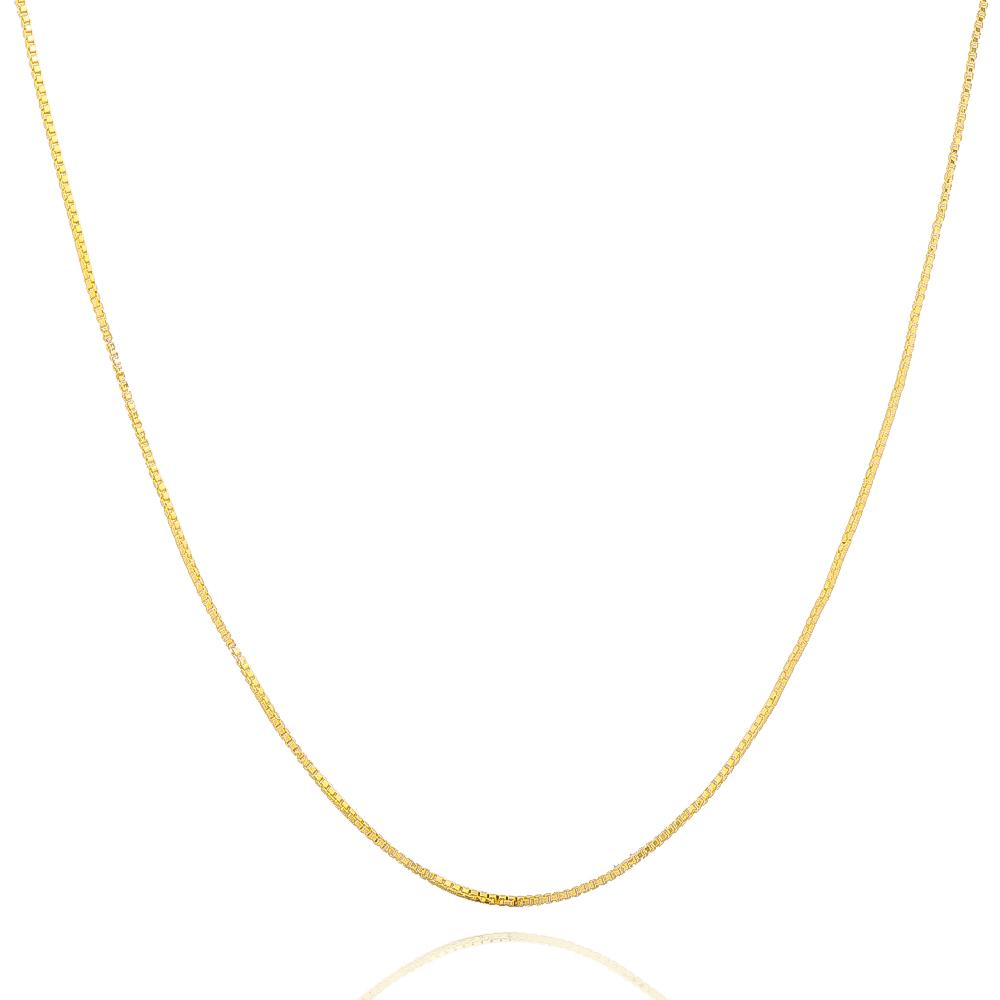 Corrente Veneziana Fina 45cm Folheada em Ouro 18k