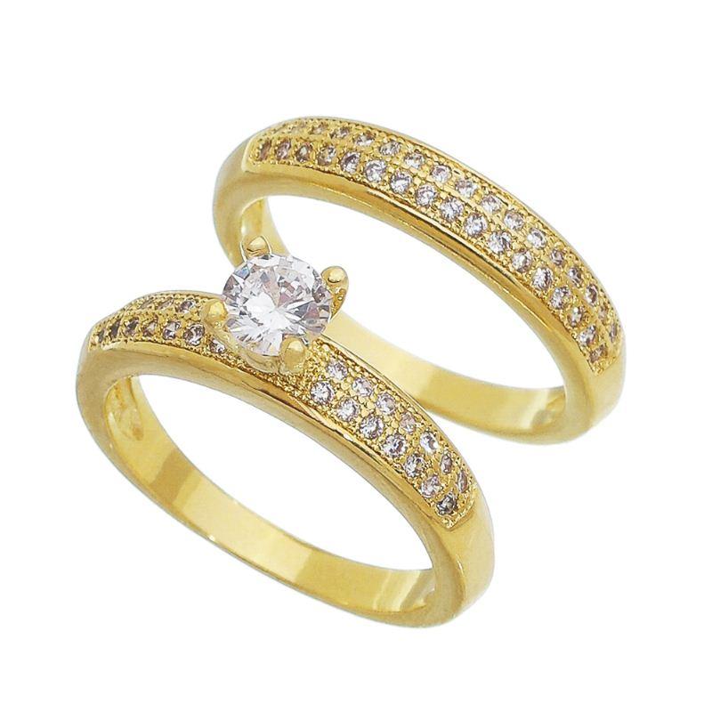 Duo de Anéis Solitário e Aparador Cravejado em Zircônias Folheado em Ouro 18k