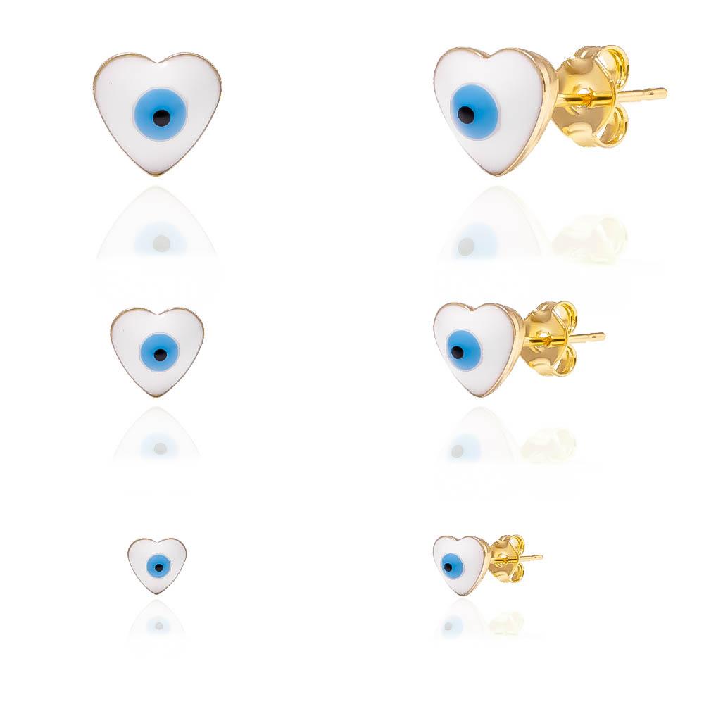 Kit Brinco Trio Coração Olho Grego Branco Folheado em Ouro 18k