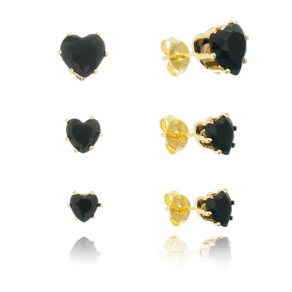 Kit de Brincos Coração com Cristal Preto Folheado em Ouro 18k