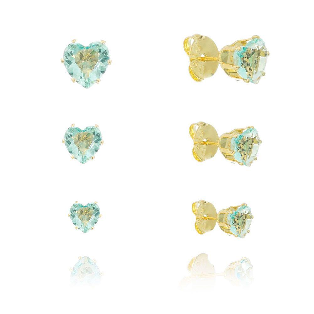 Kit de Brincos Coração com Pedra Zircônia Azul Cristal Ouro 18k - Giro Semijoias