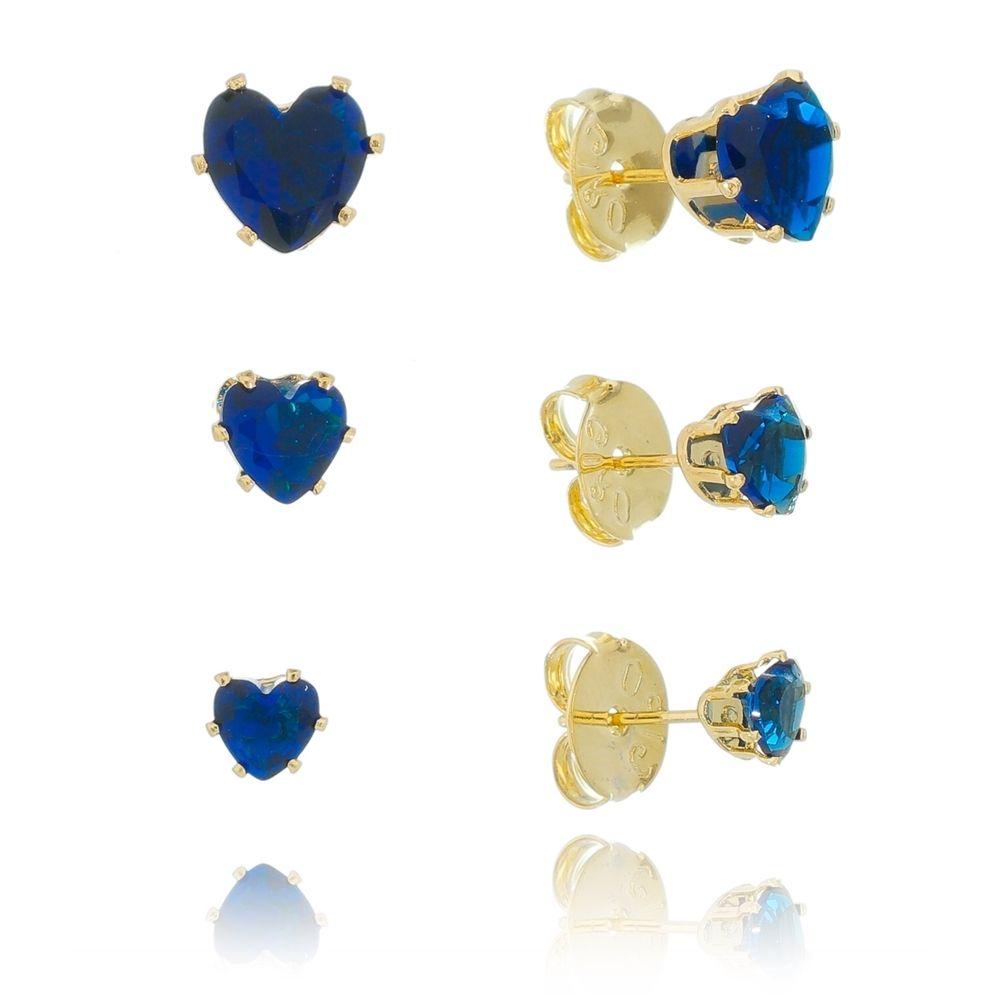 Kit de Brincos Coração com Pedra Zircônia Azul Ouro 18k - Giro Semijoias