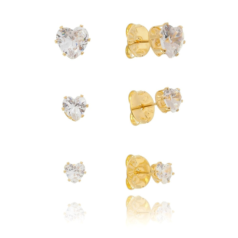 Kit de Brincos Coração com Pedra Zircônia Incolor Folheado em Ouro 18k - Giro Semijoias