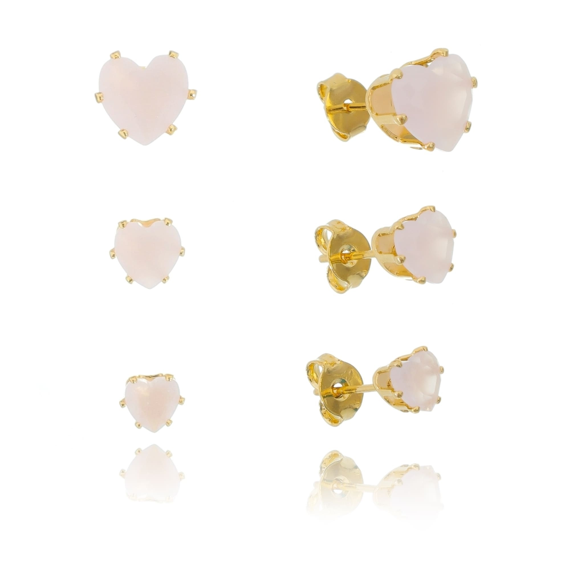 Kit de Brincos Coração com Pedra Zircônia Rosa Bebê Folheado em Ouro 18k