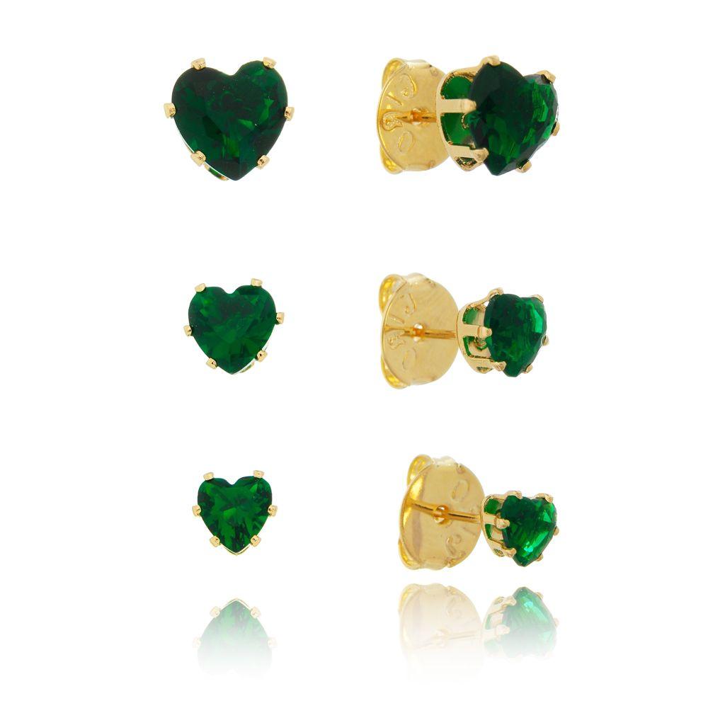 Kit de Brincos Coração com Pedra Zircônia Verde Ouro 18k - Giro Semijoias