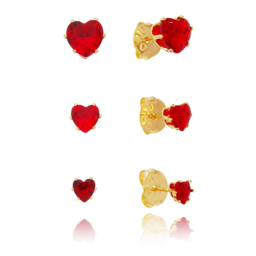 Kit de Brincos Coração com Pedra Zircônia Vermelho Folheado em Ouro 18k