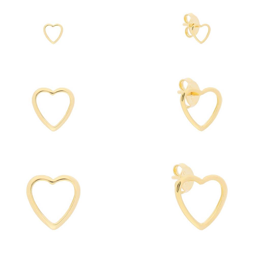 Kit Trio de Brincos Coração Liso Vazado Folheado em Ouro 18k - Giro Semijoias