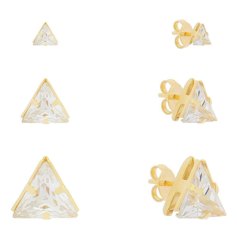 Kit Trio de Brincos Triângulos em Zircônia Folheado em Ouro 18k - Giro Semijoias