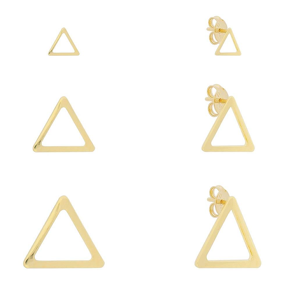 Kit Trio de Brincos Triângulos Liso Vazado Folheado em Ouro 18k - Giro Semijoias