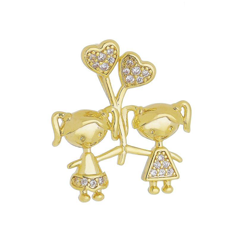 Pingente 2 Meninas C/ Balão de Coração de Zircônia Folheado com Ouro 18k Giro Semijoias
