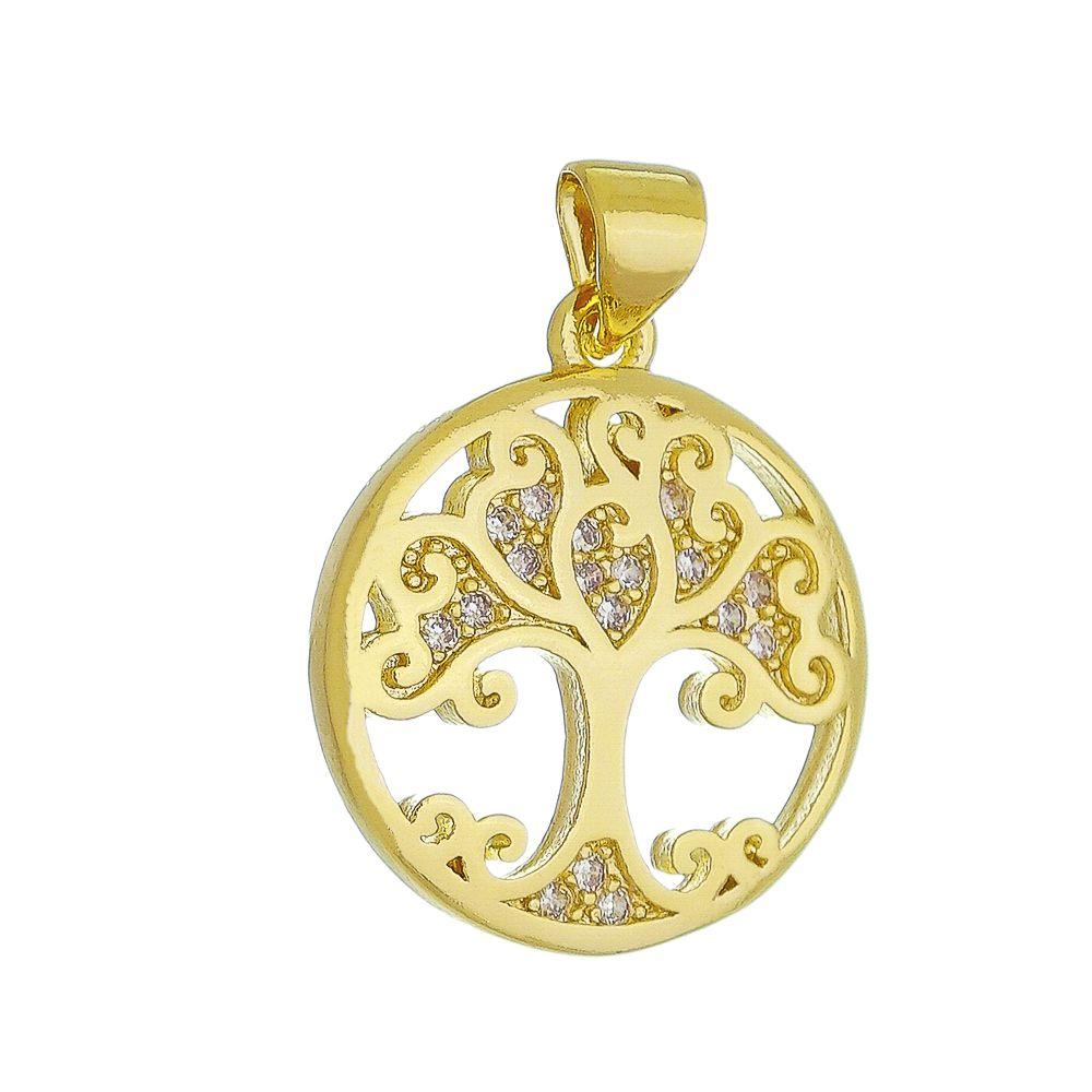 Pingente Árvore da Vida Vazada C/ Zircônia Folheado com  Ouro 18k Giro Semijoias
