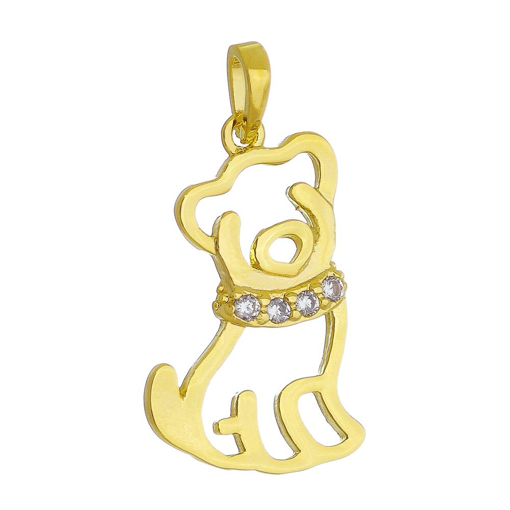 Pingente Cachorro Vazado C/ Zircônia  Ouro 18k